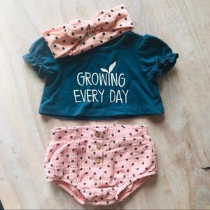 3 piece baby outfit crop top, bloomers & headband